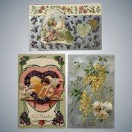 Lot of Three Vintage c.1900 Cupid Valentine's Postcard