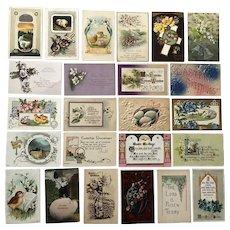 Vintage c 1900s Easter Greetings Postcards – Lot of 24 - Easter Greetings, Chicks, Eggs, Crosses, Bells, Flowers