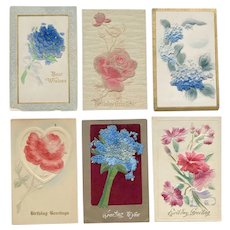 Heavily Embossed with Felt Flowers Postcard Floral Lot