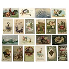 Vintage c 1900s Easter Greetings Postcards – Lot of 20 – Chicks, Roosters, Eggs, Rabbits
