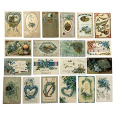 Vintage c 1900s Blue Forget-Me-Not Flower Birthday and Greeting Postcards – Lot of 20 Postcards