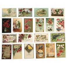 Vintage c 1900s Various Greeting Postcards with Flowers and/or Scenes – Lot of 20