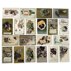 Vintage c 1900s Purple, Yellow and White Pansies Greeting Postcards – Lot of 20