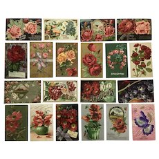 Vintage c 1900s Gorgeous, Deeply Colored Greeting Postcards with a Variety of Flowers – Lot of 20