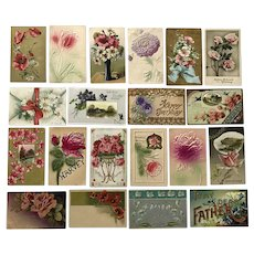 Vintage c 1900s Flowers in a Variety of Colors from Pink, White, Red, Orange, Purple Greeting Postcards – Lot of 20