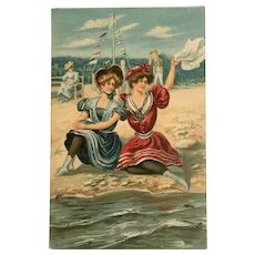 Illustrated Post Card, NY Ladies at the Seashore Postcard