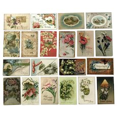Vintage c 1900s Variety of Greeting Postcards with Scenes and Flowers – Lot of 20