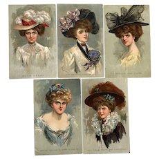Vintage K.H. Kiefer signed 1908 Glamour Ladies Postcards – Lot of 5