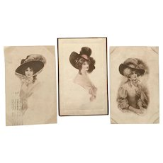 1910 Vintage J. Knowles Hare Glamour Ladies with Large Hats Postcards – Lot of 3