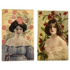 1907 Vintage Edward G. Waskow signed Glamour Ladies with Flowers – Lot of 2