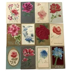Vintage c 1900s Felt and Satin Floral Birthday and Greetings Postcards – Lot of  12