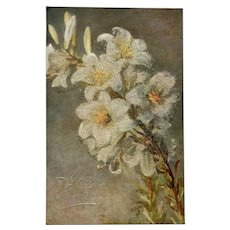 """c.1900 TUCK """"White Lilies"""" Oilette Easter Post Card of Original Painting by Bertha Maguire"""