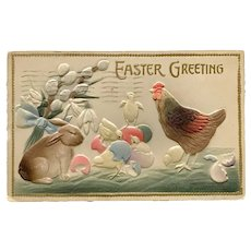 1911 Easter Heavily Embossed Tinted Post Card with Hatched Chicks, Rabbit and Hen Scene
