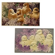 c.1900 Easter Greetings Chicks Embossed and Felt Overlaid Postcards – Lot of 2