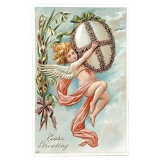 c. 1900 Easter Greeting Postcard with Angel Holding Large Egg with Ribbon made of Flowers