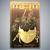 c. 1900 Easter Greetings Postcard with Hanging Half Egg Shell Planter with Purple Flowers