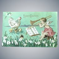 1910 German Easter Postcard with Angel Playing a Slide Trombone