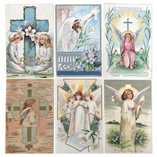 c. 1900 Angels with Crosses and Flowers Easter Greetings Postcards - Lot of 6