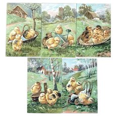 c. 1900 Easter Embossed Postcards with Chicks Standing is Different Baskets and Yard Items - Lot of 5