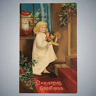 1908 Ellen Clapsaddle Little Girl Going Up Stairs / Santa Peeking in Window Postcard