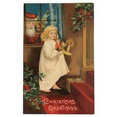 1908 Ellen Clapsaddle Little Girl Going Up Stairs / Santa Peeking in Window Postcard