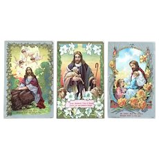 1908 Religious Colorful Greeting Postcards - Jesus in Three Wonderful Scenes with Sayings