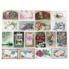 c. 1900 Vintage Birthday and Best Wishes Greeting Postcards with Floral Scenes - Lot of 18