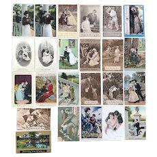 c. 1900 Vintage Romance Love Couples in Cute Scenes - Lot of 24