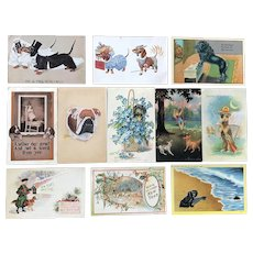 c. 1900 Vintage Dog Cute and Comical Greetings Postcards - Lot of 11