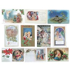 c. 1900 Vintage Christmas Religious Holiday Postcards - Manger, Wise Men - Lot of 10