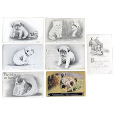 c. 1900 Vintage Cute Dog Scenes - Colby, W.R.W. 6557, Cavally - Lot of 7