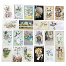 c. 1900 Vintage Easter Postcards with Crosses, Lilies/Flowers, Angels, Doves - Lot of 22