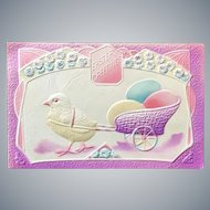 c 1900 Heavily Embossed Easter Postcard with Chick Pulling Cart of Eggs