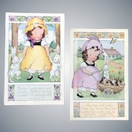 Vintage Whitney Made Cute Little Girls with Egg-shell Hats Easter Postcards