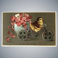 "1911 German ""Easter Greetings"" Chick Peddling a Cart Pulling Large Egg"