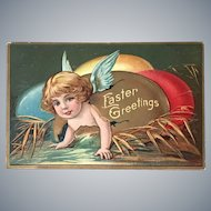 "c 1900 ""Easter Greetings"" Angel w/Blue Wings Crawling out of Cracked Easter Egg"