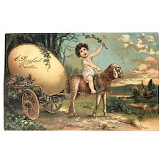 1908 German Easter Postcard Child on Sheep, Pulling a Cart w/Large Egg