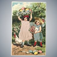 c 1900 German Colorful Easter Postcard Two Little Girls Dressed in SILK Outfits