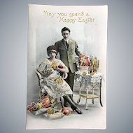 c 1900 German Easter Postcard Young Couple with Easter Eggs - GOLD Highlights