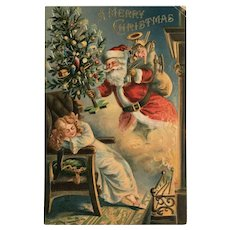 1906 Santa Delivering Decorated Tree to Sleeping Girl Christmas Postcard