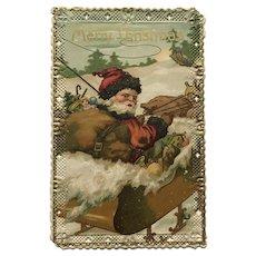 1909 German Embossed Santa in Sleigh Postcard with Lace Cut Edging