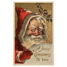 1908 Julius Bien  Jolly Ole Santa Looking at 'THE List' Postcard