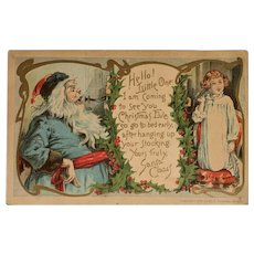 1906 Santa in Blue Suit Making a Phone Call to a Little Girl