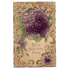 Embossed/Die Cut Lace Effect Purple Floral Bouquet Postcard - [Misspelled]
