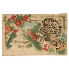Heavily Embossed Turkey with Glitter Thanksgiving Postcard