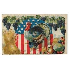 1914 Patriotic Flag with Turkey Thanksgiving Postcard