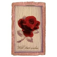 1912 Felt Rose Applique with Silk Edging Postcard