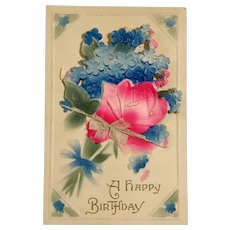 1914 German Embossed Birthday Greeting Card / Postcard with Novelty Addition