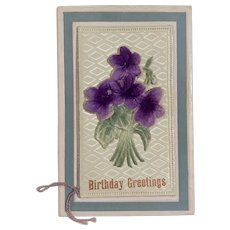 Early 1900's German Felt Floral Birthday Greeting Card / Postcard