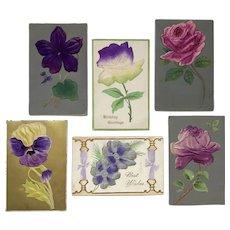 Silk and Felt Flower Appliques Embossed Floral Postcard Lot
